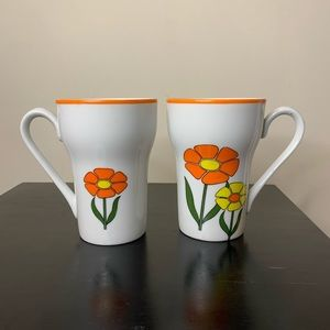 Pair vintage 70s porcelain floral coffee mugs